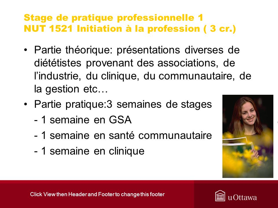 Click View then Header and Footer to change this footer Stage de pratique professionnelle 1 NUT 1521 Initiation à la profession ( 3 cr.) Partie théori
