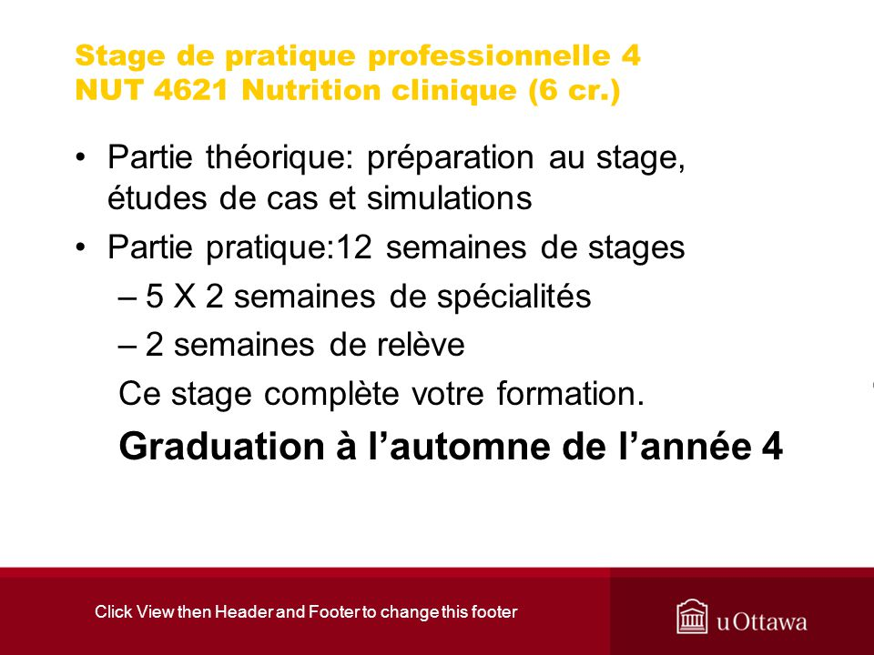 Click View then Header and Footer to change this footer Stage de pratique professionnelle 4 NUT 4621 Nutrition clinique (6 cr.) Partie théorique: prép