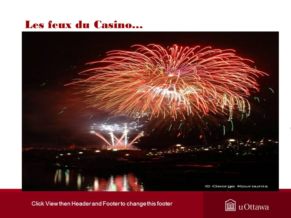 Click View then Header and Footer to change this footer Les feux du Casino…