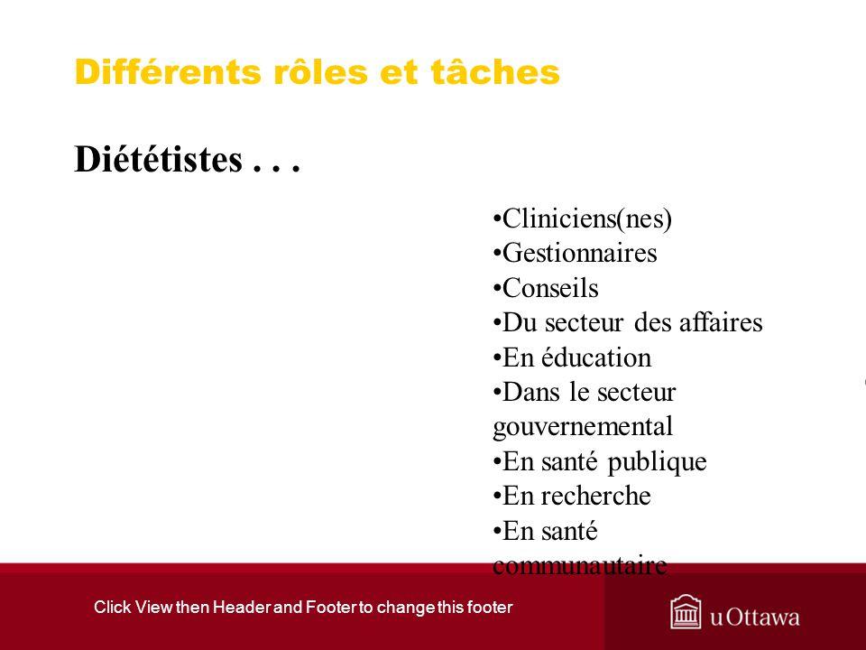 Click View then Header and Footer to change this footer Différents rôles et tâches Diététistes...