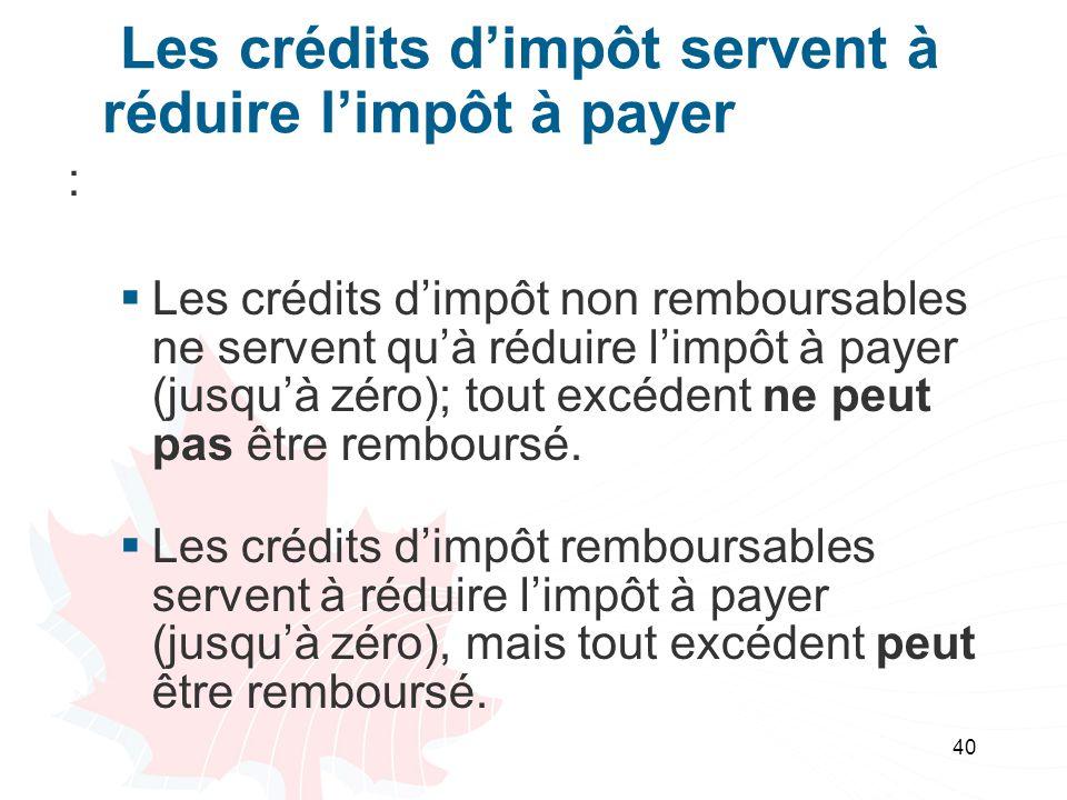 40 Les crédits dimpôt servent à réduire limpôt à payer : Les crédits dimpôt non remboursables ne servent quà réduire limpôt à payer (jusquà zéro); tout excédent ne peut pas être remboursé.