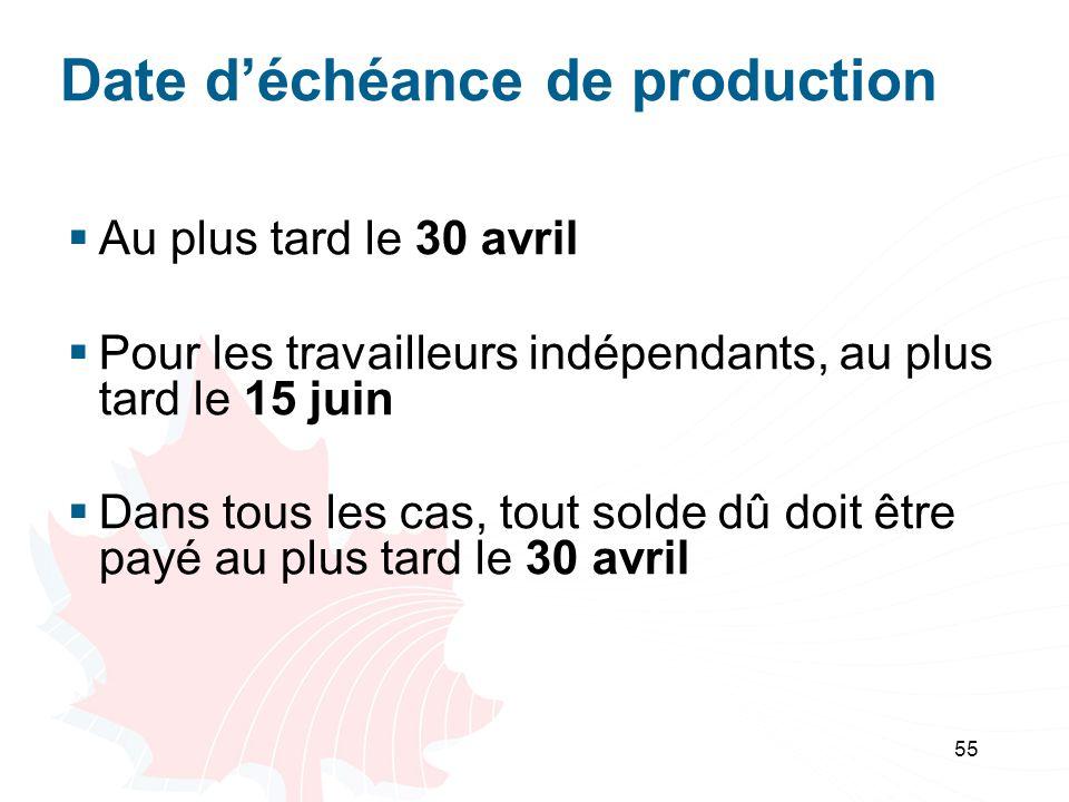 55 Date déchéance de production Au plus tard le 30 avril Pour les travailleurs indépendants, au plus tard le 15 juin Dans tous les cas, tout solde dû doit être payé au plus tard le 30 avril