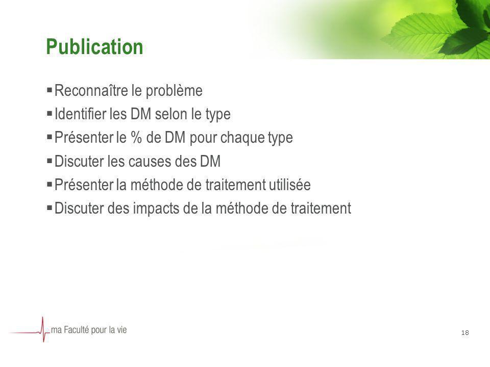 18 Publication Reconnaître le problème Identifier les DM selon le type Présenter le % de DM pour chaque type Discuter les causes des DM Présenter la méthode de traitement utilisée Discuter des impacts de la méthode de traitement