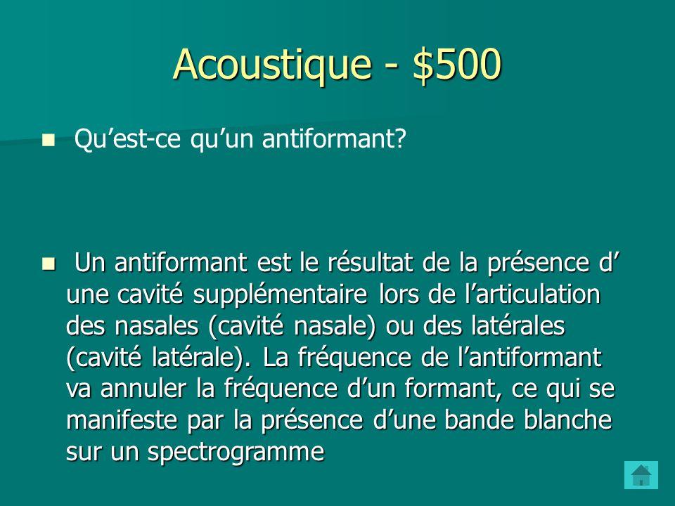 Acoustique - $400 Quelles sont les classes de consonnes dun point de vue acoustique? Comment sont-elles caractérisées? Occlusives: bruit dexplosion im