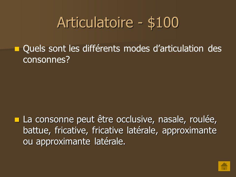 Acoustique - $500 Quest-ce quun antiformant? Un antiformant est le résultat de la présence d une cavité supplémentaire lors de larticulation des nasal