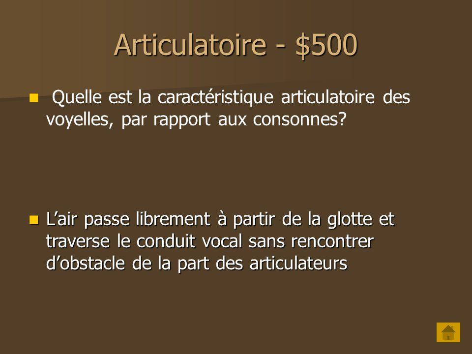 Articulatoire - $400 Qu'est-ce qui définit le mode d'articulation pour une voyelle nasale ? Le voile du palais est abaissé, permettant le passage de l
