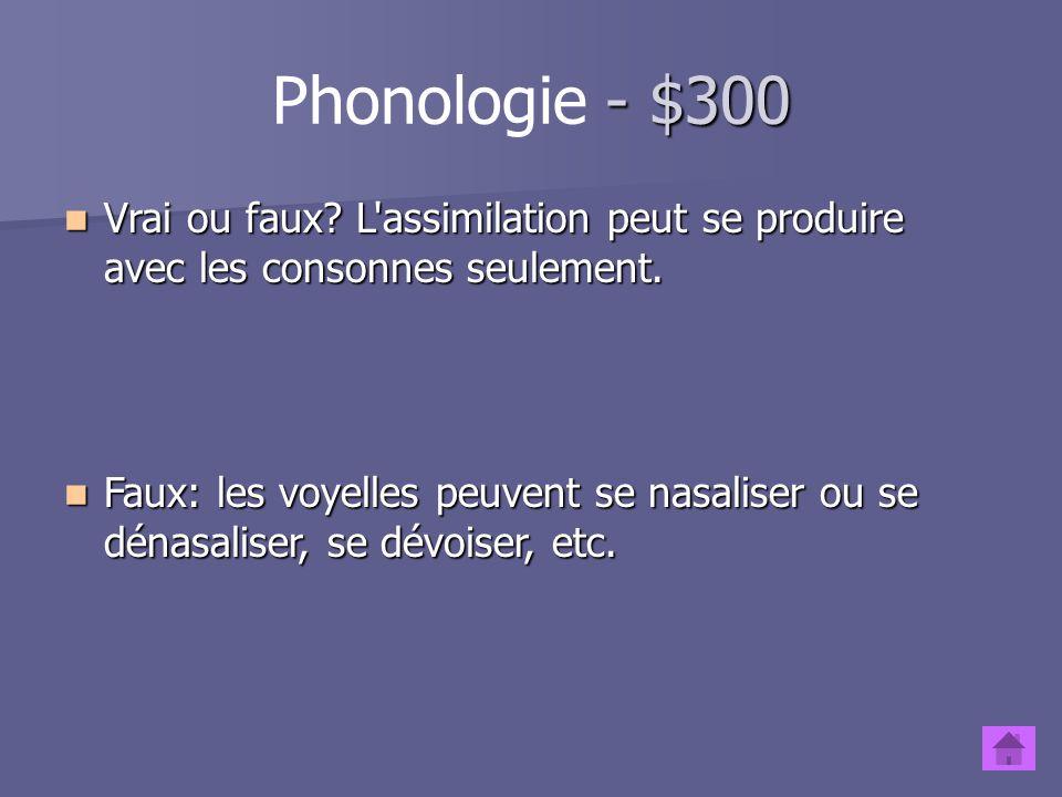 - $200 Phonologie - $200 Pourquoi en français peut-on prononcer le son R de différentes manières (roulé, grasseyé, etc.) tandis qu'on ne peut pas dans