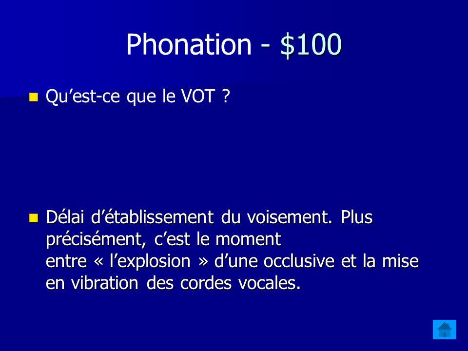 Jeopardy - Révision $100 PhonationAcoustiqueArticulatoirePhonologieProsodie $200 $300 $400 $500 $400 $300 $200 $100 $500 $400 $300 $200 $100 $500 $400