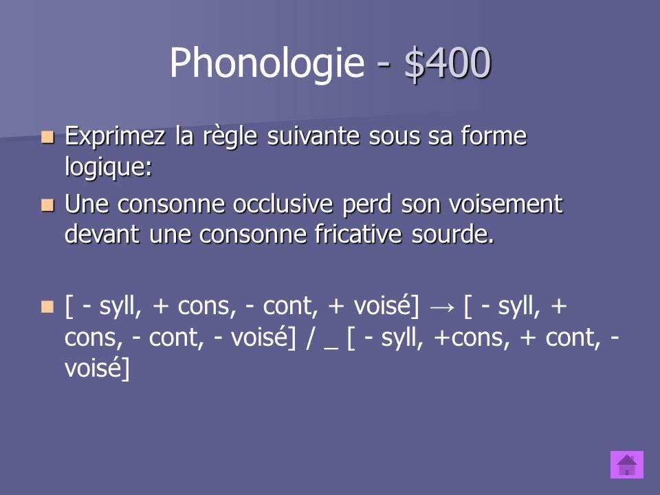 - $300 Phonologie - $300 Vrai ou faux? L'assimilation peut se produire avec les consonnes seulement. Vrai ou faux? L'assimilation peut se produire ave