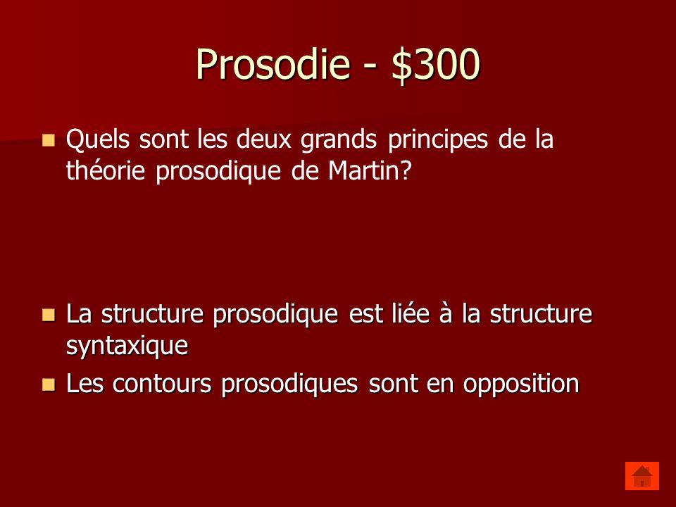 Prosodie - $200 En français, dans les mots ordinateur, capitaine et téléphoner, on met l'accent tonique sur la __________syllabe. En français, dans le