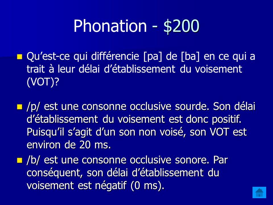 - $200 Phonation - $200 Quest-ce qui différencie [pa] de [ba] en ce qui a trait à leur délai détablissement du voisement (VOT).