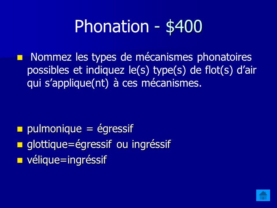 - $400 Phonation - $400 Nommez les types de mécanismes phonatoires possibles et indiquez le(s) type(s) de flot(s) dair qui sapplique(nt) à ces mécanismes.