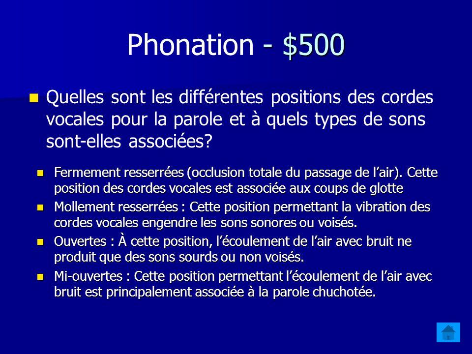 - $400 Phonation - $400 Nommez les types de mécanismes phonatoires possibles et indiquez le(s) type(s) de flot(s) dair qui sapplique(nt) à ces mécanis