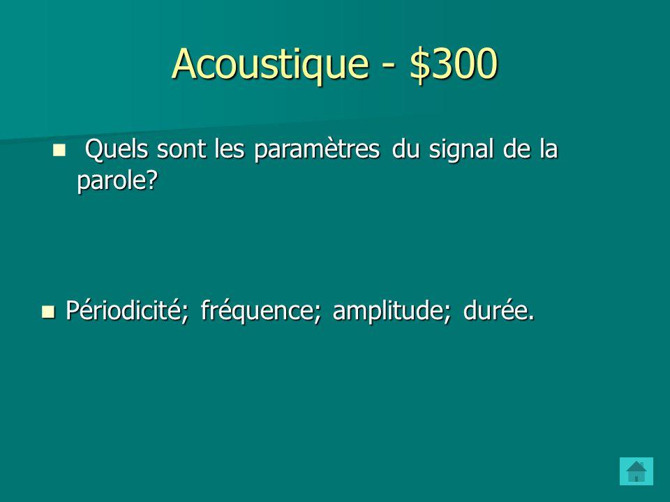 Acoustique - $200 Quest-ce quun formant? Une concentration dharmoniques (fréquences multiples de F0) Une concentration dharmoniques (fréquences multip