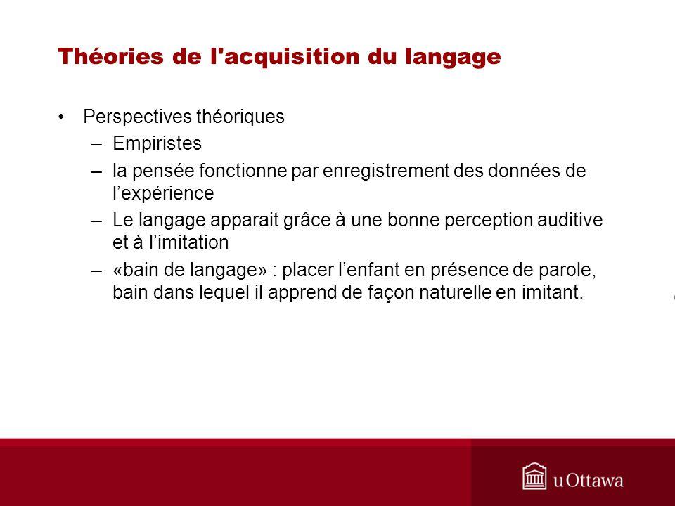 Théories de l'acquisition du langage Perspectives théoriques –Empiristes –la pensée fonctionne par enregistrement des données de lexpérience –Le langa