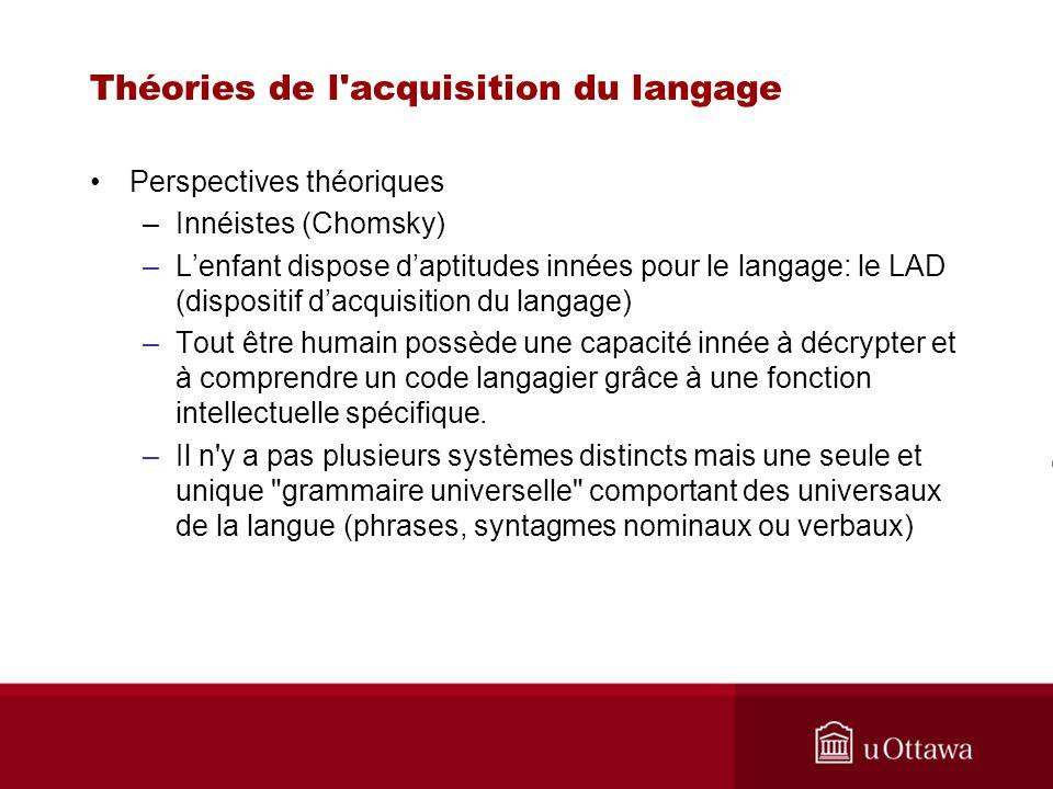 Théories de l'acquisition du langage Perspectives théoriques –Innéistes (Chomsky) –Lenfant dispose daptitudes innées pour le langage: le LAD (disposit