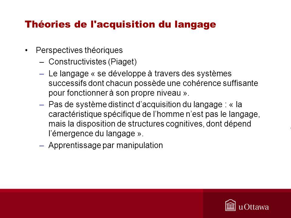 Théories de l'acquisition du langage Perspectives théoriques –Constructivistes (Piaget) –Le langage « se développe à travers des systèmes successifs d