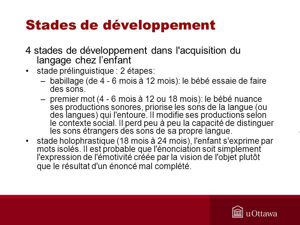 Stades de développement 4 stades de développement dans l'acquisition du langage chez lenfant stade prélinguistique : 2 étapes: –babillage (de 4 - 6 mo