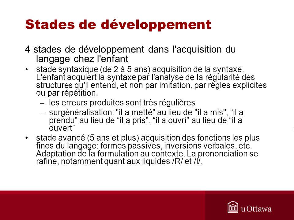 Stades de développement 4 stades de développement dans l'acquisition du langage chez l'enfant stade syntaxique (de 2 à 5 ans) acquisition de la syntax