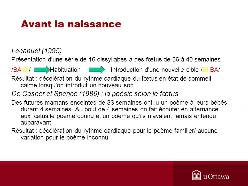 Lecanuet (1995) Présentation dune série de 16 dissyllabes à des fœtus de 36 à 40 semaines /BA BI/ Habituation Introduction dune nouvelle cible /BI BA/