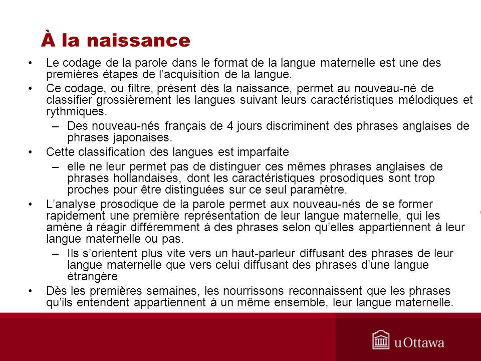 À la naissance Le codage de la parole dans le format de la langue maternelle est une des premières étapes de lacquisition de la langue. Ce codage, ou