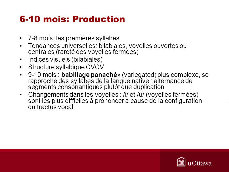 6-10 mois: Production 7-8 mois: les premières syllabes Tendances universelles: bilabiales, voyelles ouvertes ou centrales (rareté des voyelles fermées