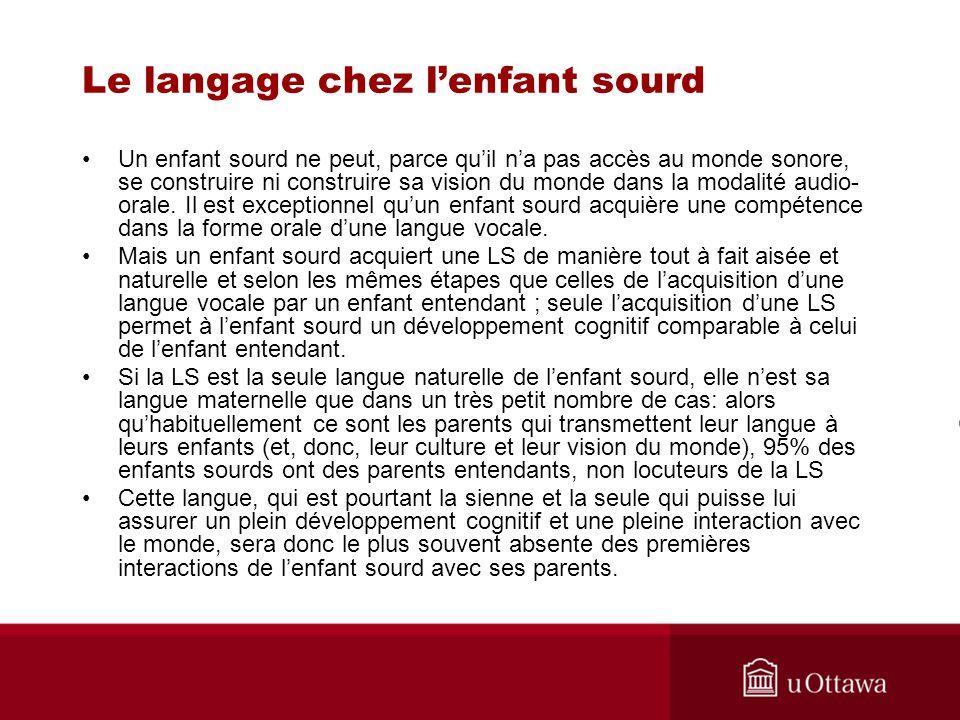 Le langage chez lenfant sourd Un enfant sourd ne peut, parce quil na pas accès au monde sonore, se construire ni construire sa vision du monde dans la