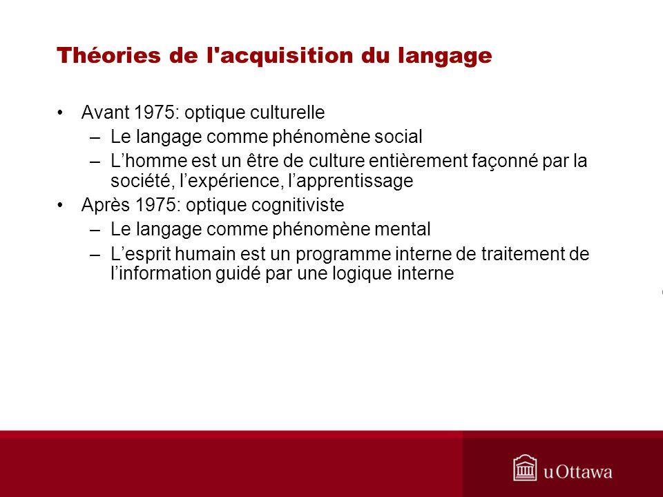 Théories de l'acquisition du langage Avant 1975: optique culturelle –Le langage comme phénomène social –Lhomme est un être de culture entièrement faço