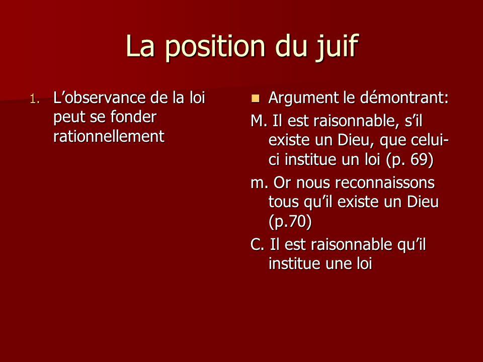 La position du juif 1. Lobservance de la loi peut se fonder rationnellement Argument le démontrant: Argument le démontrant: M. Il est raisonnable, sil