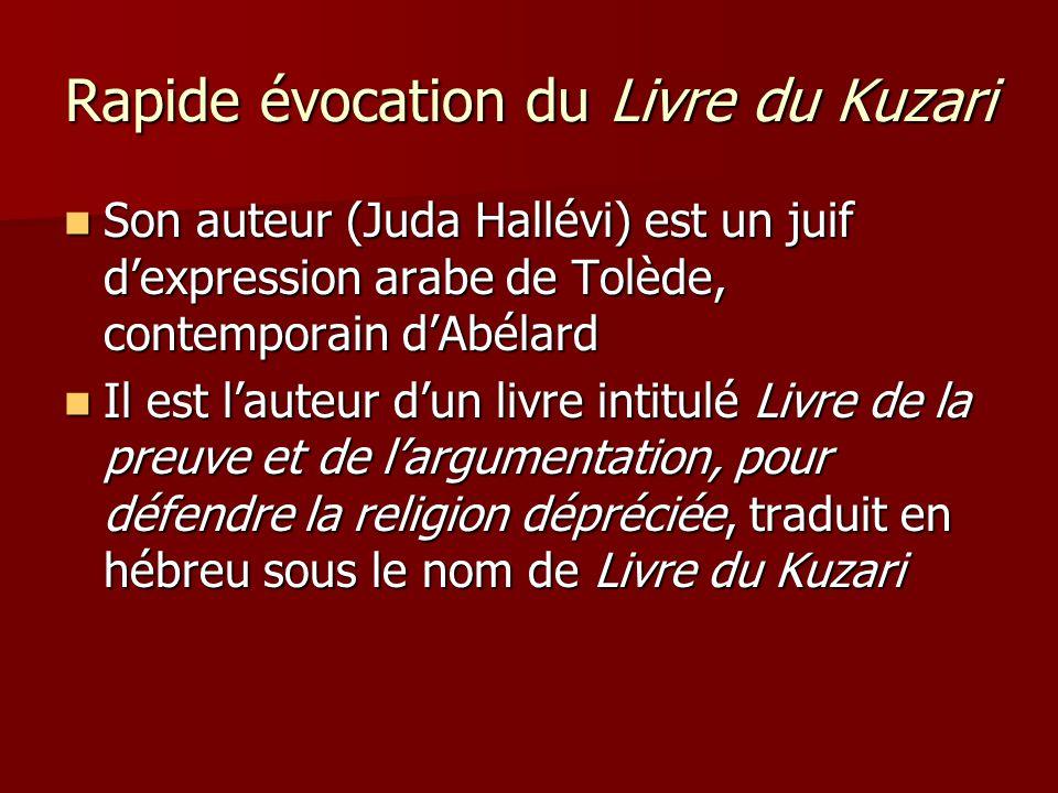Rapide évocation du Livre du Kuzari Son auteur (Juda Hallévi) est un juif dexpression arabe de Tolède, contemporain dAbélard Son auteur (Juda Hallévi)