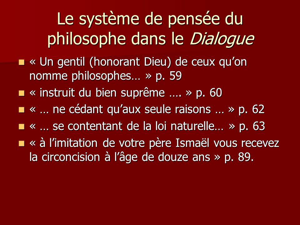 Le système de pensée du philosophe dans le Dialogue « Un gentil (honorant Dieu) de ceux quon nomme philosophes… » p. 59 « Un gentil (honorant Dieu) de