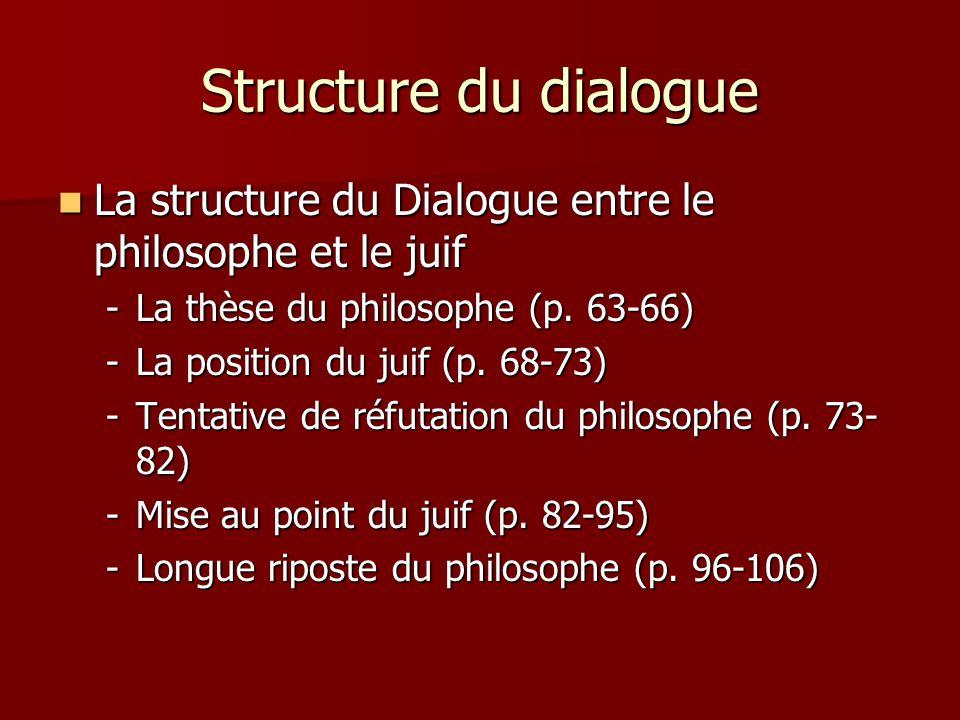 Structure du dialogue La structure du Dialogue entre le philosophe et le juif La structure du Dialogue entre le philosophe et le juif -La thèse du phi