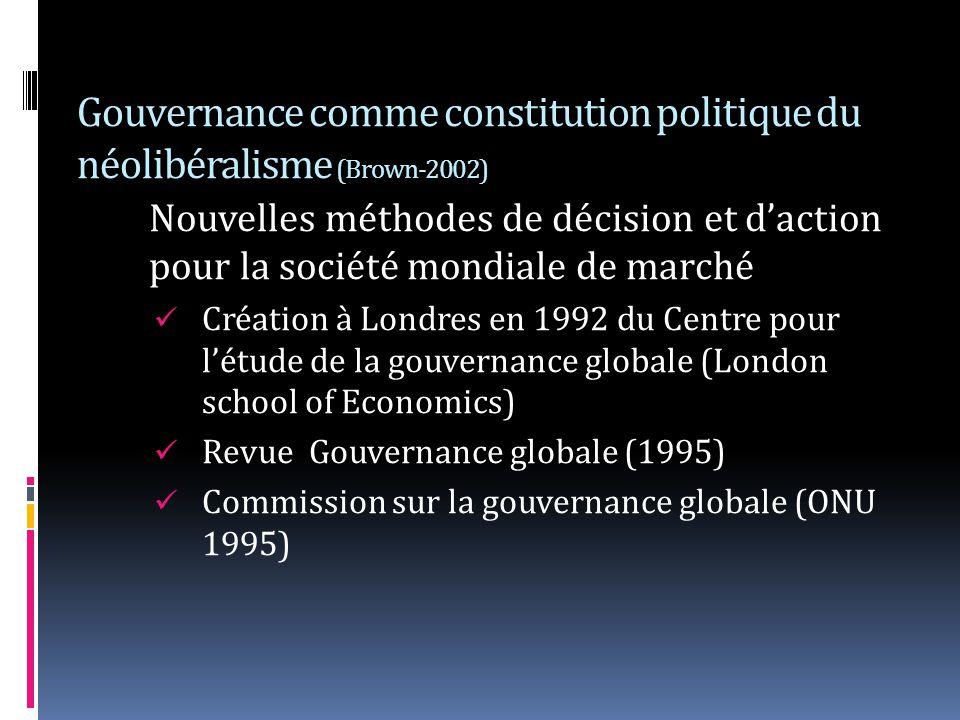 Gouvernance comme constitution politique du néolibéralisme (Brown-2002) Nouvelles méthodes de décision et daction pour la société mondiale de marché Création à Londres en 1992 du Centre pour létude de la gouvernance globale (London school of Economics) Revue Gouvernance globale (1995) Commission sur la gouvernance globale (ONU 1995)