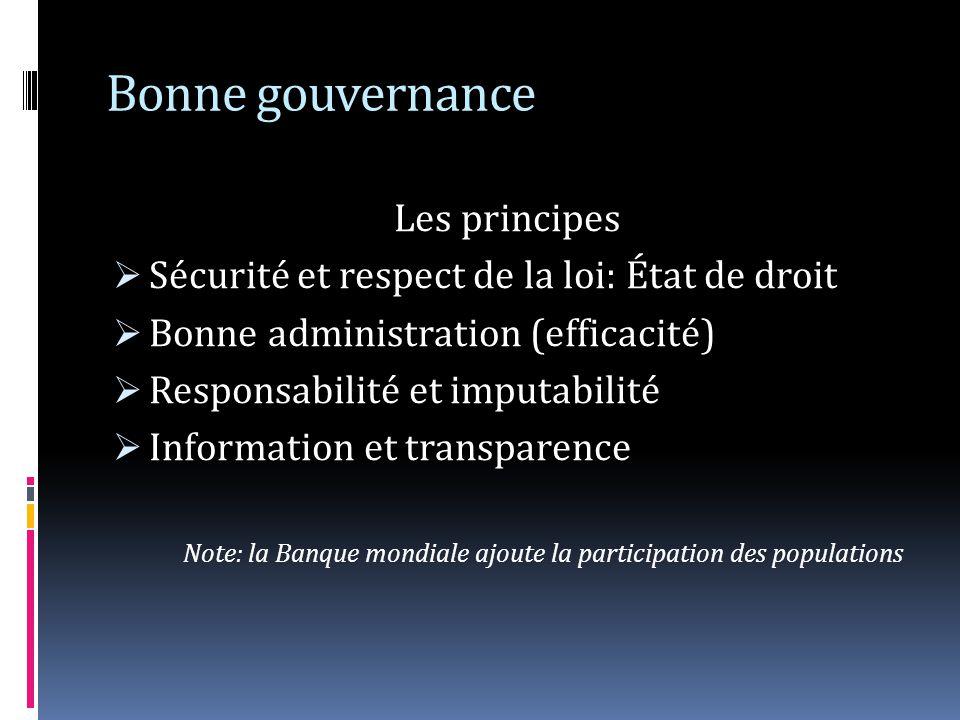 Bonne gouvernance Les principes Sécurité et respect de la loi: État de droit Bonne administration (efficacité) Responsabilité et imputabilité Informat