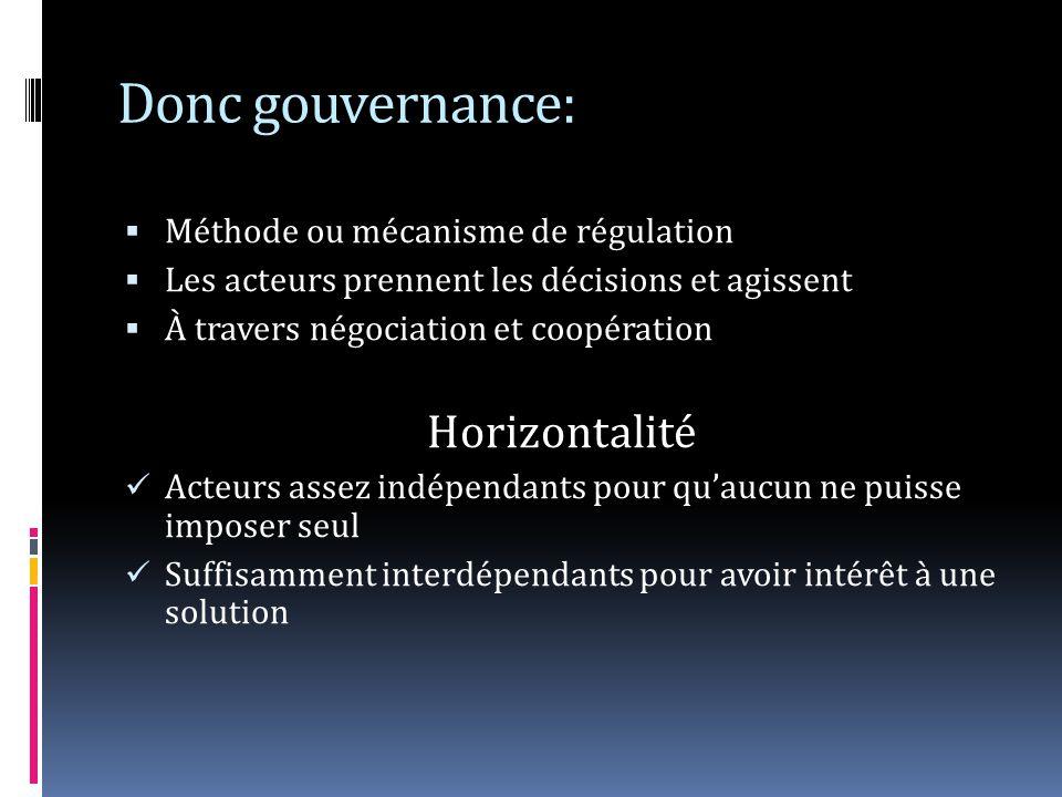Donc gouvernance: Méthode ou mécanisme de régulation Les acteurs prennent les décisions et agissent À travers négociation et coopération Horizontalité Acteurs assez indépendants pour quaucun ne puisse imposer seul Suffisamment interdépendants pour avoir intérêt à une solution