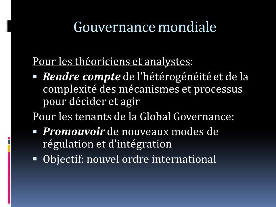 Gouvernance mondiale Pour les théoriciens et analystes: Rendre compte de lhétérogénéité et de la complexité des mécanismes et processus pour décider et agir Pour les tenants de la Global Governance: Promouvoir de nouveaux modes de régulation et dintégration Objectif: nouvel ordre international