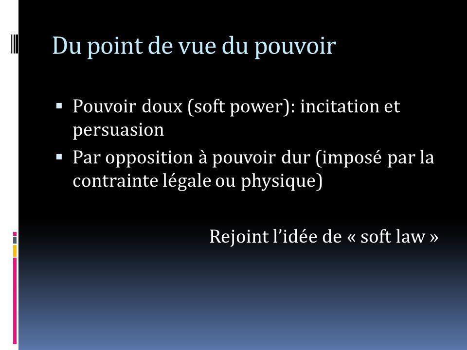 Du point de vue du pouvoir Pouvoir doux (soft power): incitation et persuasion Par opposition à pouvoir dur (imposé par la contrainte légale ou physiq