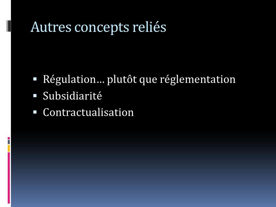 Autres concepts reliés Régulation… plutôt que réglementation Subsidiarité Contractualisation