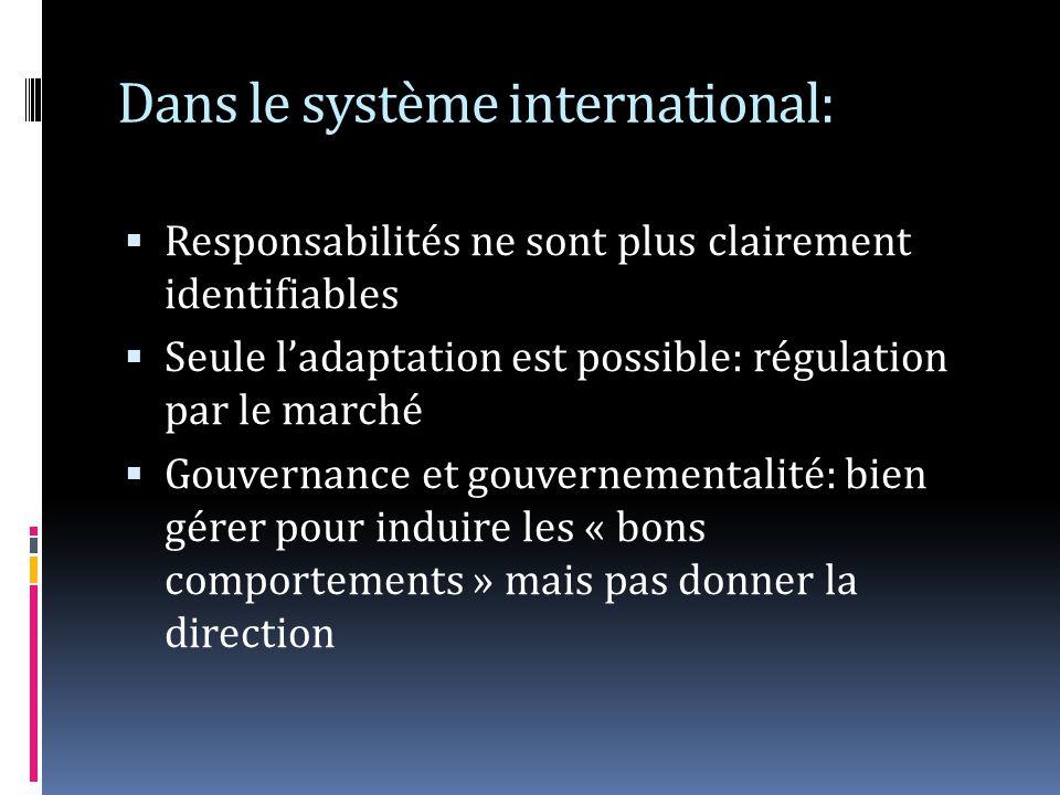 Dans le système international: Responsabilités ne sont plus clairement identifiables Seule ladaptation est possible: régulation par le marché Gouvernance et gouvernementalité: bien gérer pour induire les « bons comportements » mais pas donner la direction