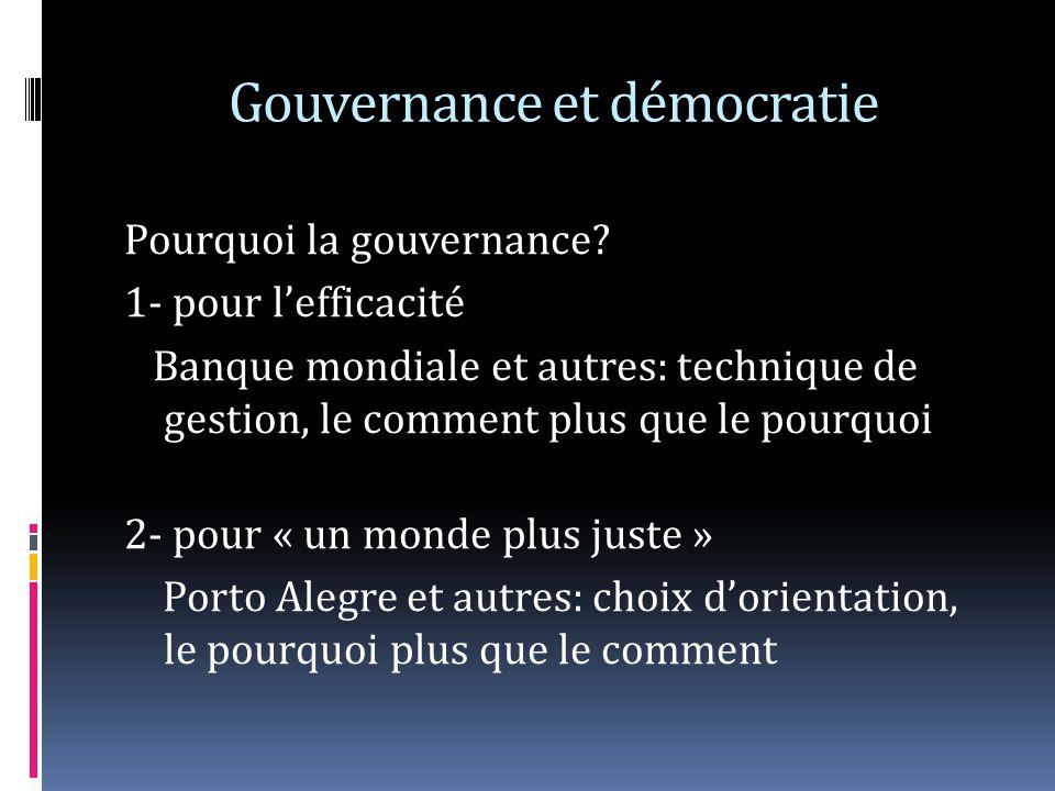 Gouvernance et démocratie Pourquoi la gouvernance? 1- pour lefficacité Banque mondiale et autres: technique de gestion, le comment plus que le pourquo