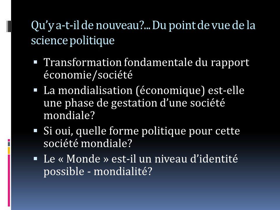 Quy a-t-il de nouveau?... Du point de vue de la science politique Transformation fondamentale du rapport économie/société La mondialisation (économiqu