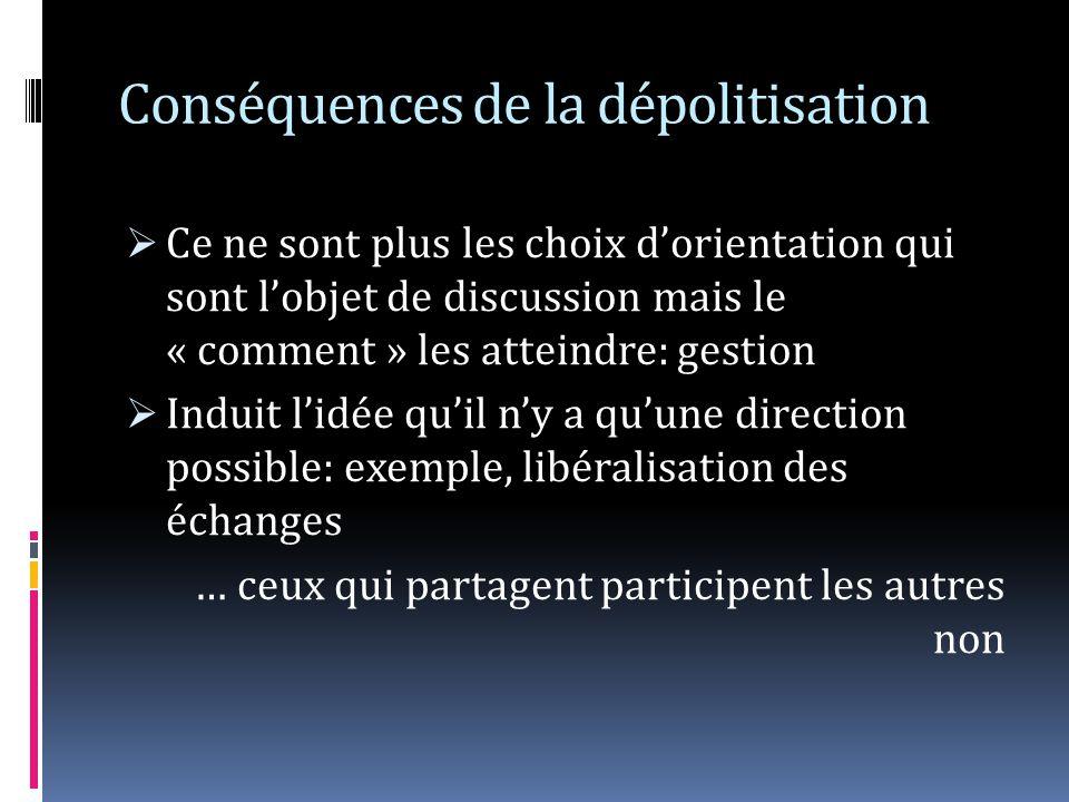 Conséquences de la dépolitisation Ce ne sont plus les choix dorientation qui sont lobjet de discussion mais le « comment » les atteindre: gestion Indu