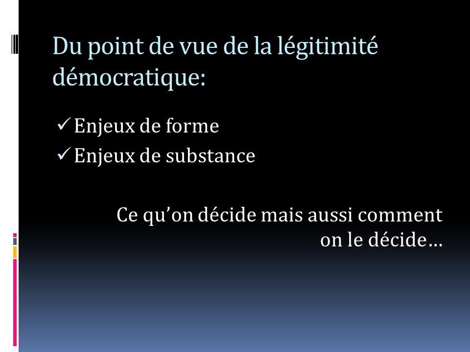 Du point de vue de la légitimité démocratique: Enjeux de forme Enjeux de substance Ce quon décide mais aussi comment on le décide…