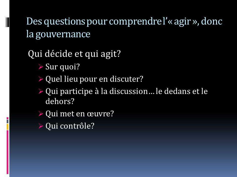 Des questions pour comprendre l« agir », donc la gouvernance Qui décide et qui agit? Sur quoi? Quel lieu pour en discuter? Qui participe à la discussi
