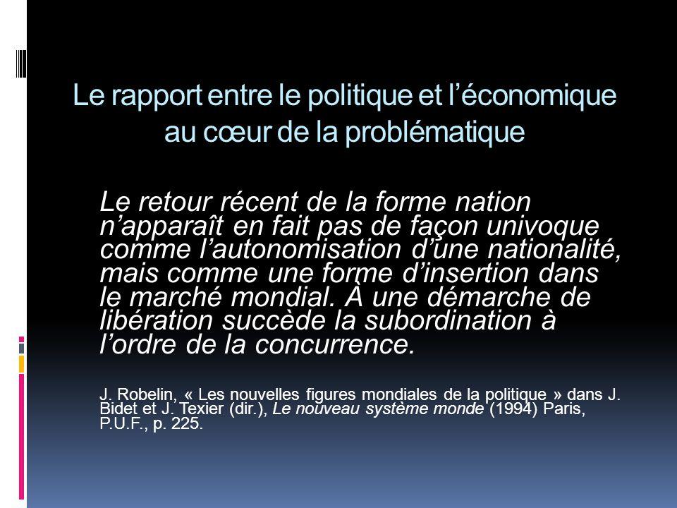 Le rapport entre le politique et léconomique au cœur de la problématique Le retour récent de la forme nation napparaît en fait pas de façon univoque comme lautonomisation dune nationalité, mais comme une forme dinsertion dans le marché mondial.