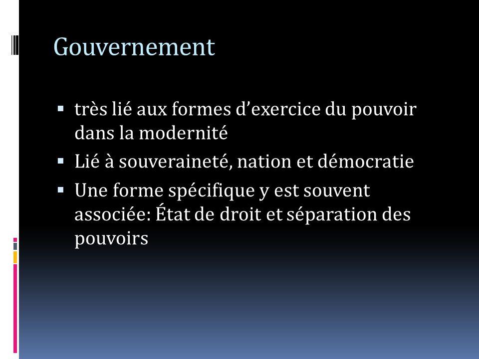 Gouvernement très lié aux formes dexercice du pouvoir dans la modernité Lié à souveraineté, nation et démocratie Une forme spécifique y est souvent associée: État de droit et séparation des pouvoirs