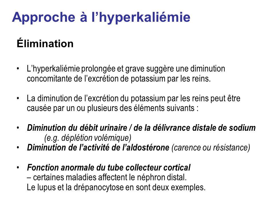 Élimination Lhyperkaliémie prolongée et grave suggère une diminution concomitante de lexcrétion de potassium par les reins.