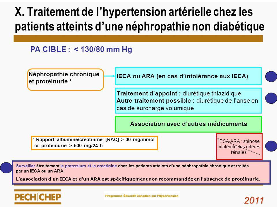 X. Traitement de lhypertension artérielle chez les patients atteints dune néphropathie non diabétique Néphropathie chronique et protéinurie * IECA/ARA