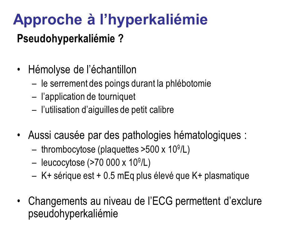 Approche à lhyperkaliémie Pseudohyperkaliémie .