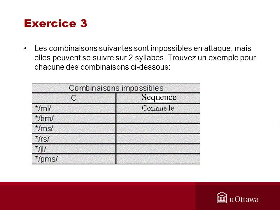 Exercice 3 Les combinaisons suivantes sont impossibles en attaque, mais elles peuvent se suivre sur 2 syllabes. Trouvez un exemple pour chacune des co